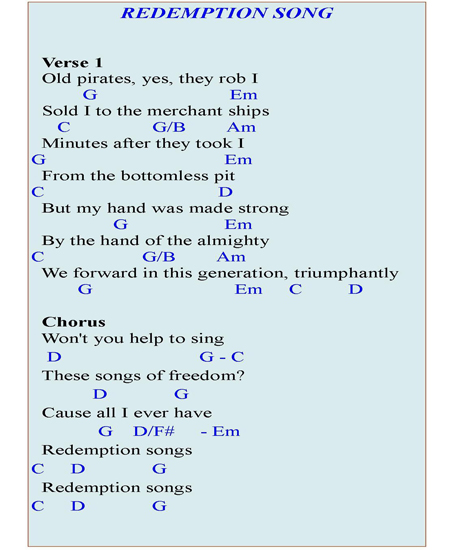 Redemption Song Piano Chords – Learn to Play it on the Piano