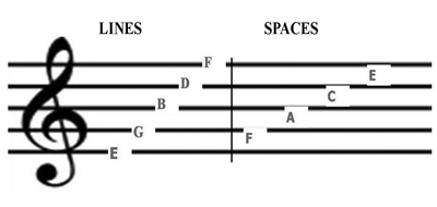 the letter name of the lines and spaces of the bass staff